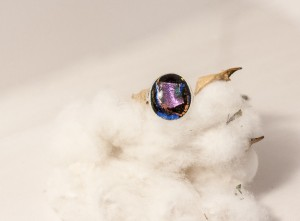 Black and Pink Dichroic Glass Cab Bezel Set in a Sterling Silver Ring. Size 7