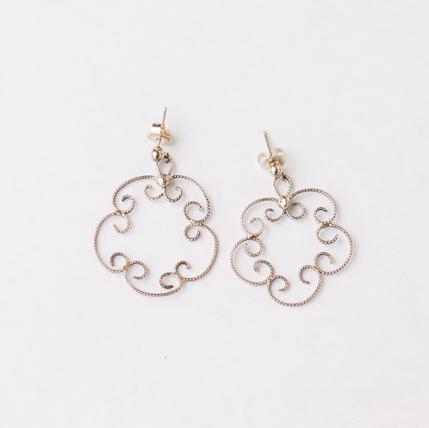 Sterling Silver Flower Dangle Earring - Filigree Style