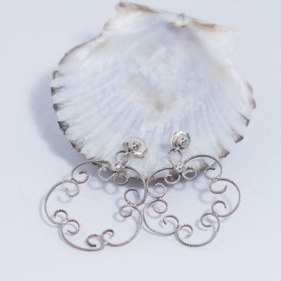 Sterling Silver Flower Dangle Earring - Filigree Style