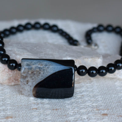 Black Agate with Sterling Silver Clasp