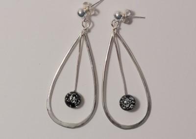 Sterling Silver Black Dichroic Glass Teardrop Earrings-5