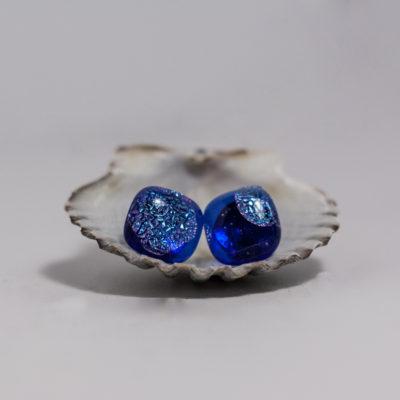 Dark Blue Dots Surgical Steel Post Earrings