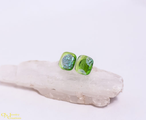 Lime Green Stripes Surgical Steel Post Earrings