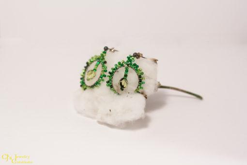 Green Glass Beads, Green Czech Focal Bead, Sterling Silver