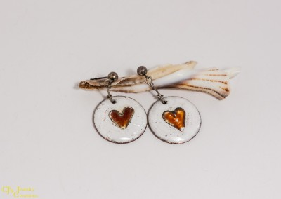 White with Red Heart Copper Enamel Earring