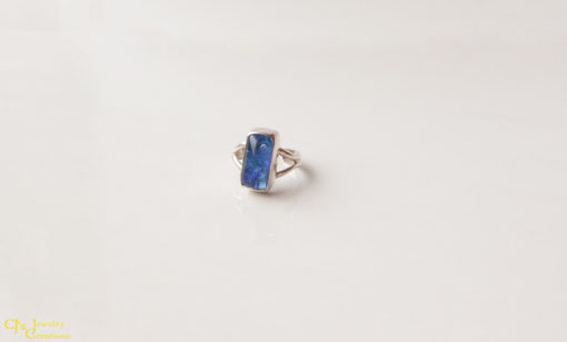 Adjustable Ring: Blue Dichroic Glass/ Sterling Silver