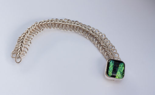 Green and Black Dichroic Glass Bracelet with Fine Silver Chain
