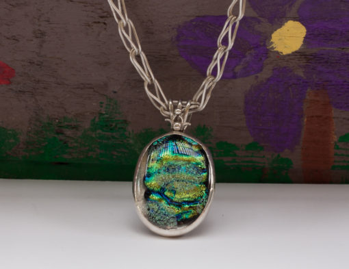 Green and Black Dichroic Glass, Fine Silver Chain
