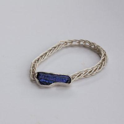 Purple Dichroic Glass, Fine Silver Bracelet