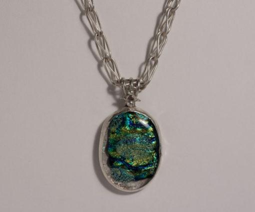 Black Green Blue Lava Necklace Sterling Silver