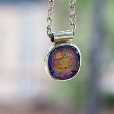 Sterling Silver, Fine Silver, Yellow, Pink, Blue Dichroic Glass