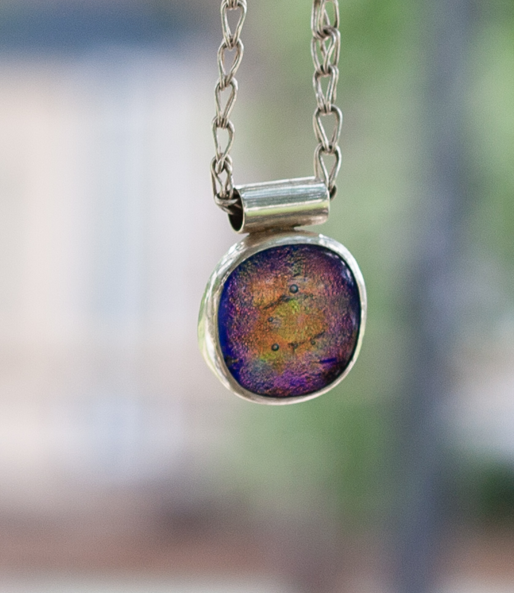 Sterling Silver, Fine Silver Dichroic Glass Statement Necklace