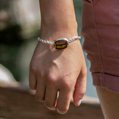 Sterling Silver, Fine Silver Dichroic Glass Bracelet