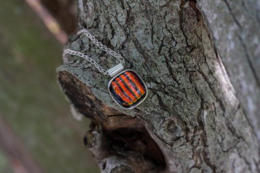 Sterling Silver, Fine Silver, Orange Stripe Dichroic Glass