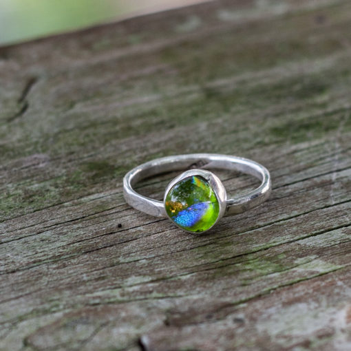 Sterling Silver, Dichroic Glass, Stacking Ring, Handmade in the USA