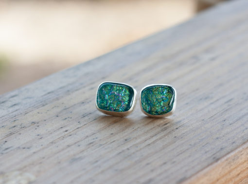 Dichroic Glass, Fine Silver, Sterling Silver, Turquoise Blue