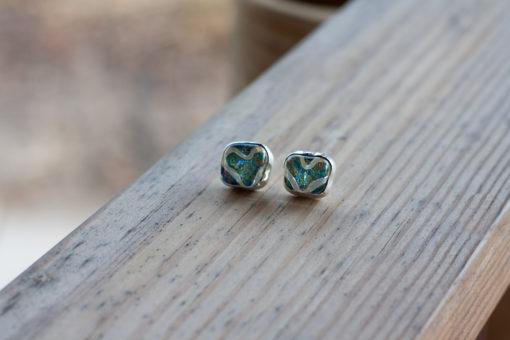 Dichroic Glass, Fine Silver, Sterling Silver, Heart