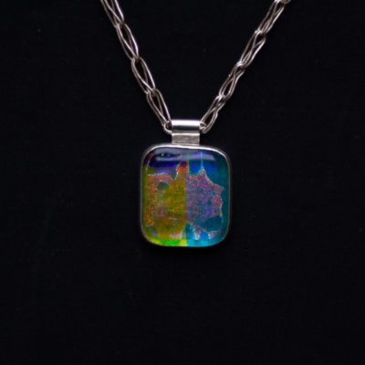 Handmade in the USA. Fine Silver Chain, Dichroic Glass Pendant, Sterling Silver Clasp