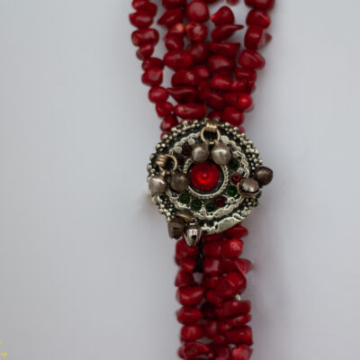 Dyed Red Coral Necklace with Afghanistan Tribal Ring Accent.