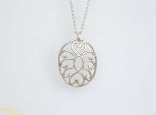 Hearts and Swirls Necklace Made From Sterling Silver