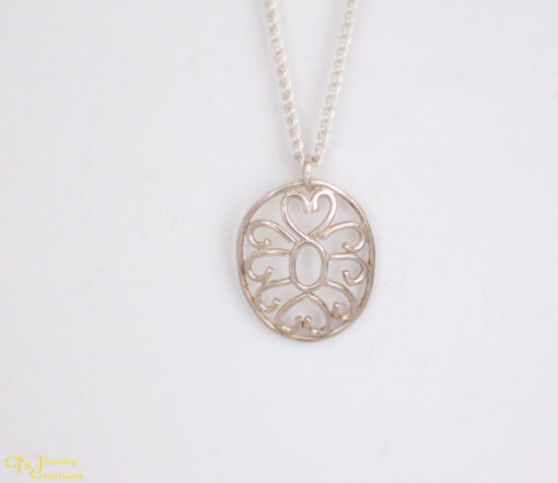 Front View: Hearts and Swirls Necklace Made From Sterling Silver