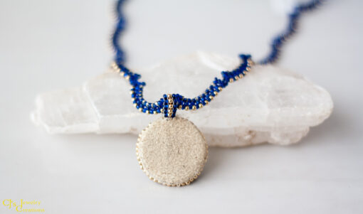 Back View: Lapis Lazuli Necklace With 14 kt Gold Accents