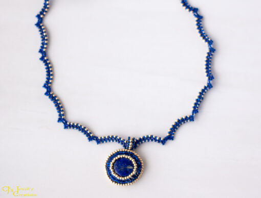 Front View: Lapis Lazuli Necklace With 14 kt Gold Accents