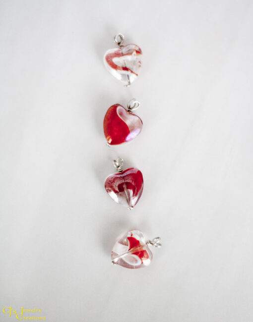 Red, White and Clear Glass Heart Necklace on a Sterling Silver Chain