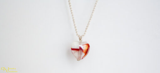 Red, White and Clear Heart Necklace on a Sterling Silver Chain