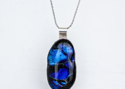 "Blue ""Tortoise Shell"" Fused Glass Necklace"