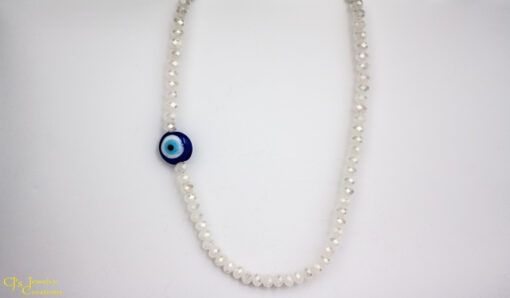 "Handmade sterling silver hook and eye clasp, white Chinese crystals with a blue ""evil eye"" focal point."