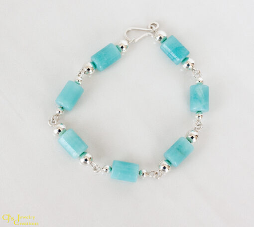 Amazonite Tube and Sterling Silver Link Bracelet