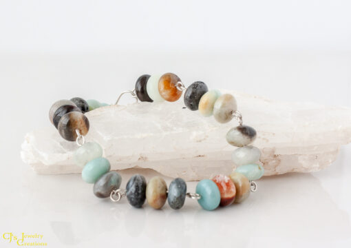Black Amazonite and Sterling Silver Link Bracelet