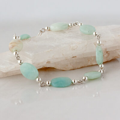 Amazonite and Sterling Silver Link Bracelet