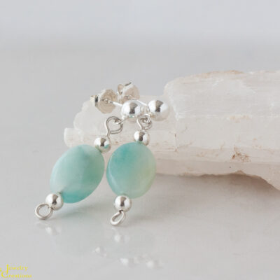 Amazonite and Sterling Silver Link Earrings