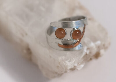 Peach Moonstones, Copper and Sterling Silver Ring