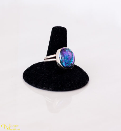 Fused Dichroic Glass and Sterling Silver