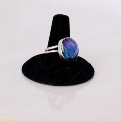 Blue and Purple Fused Dichroic Glass and Sterling Silver