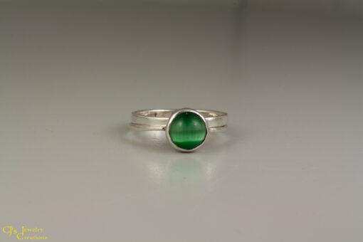 Green Fiber Optic Cat's Eye Ring