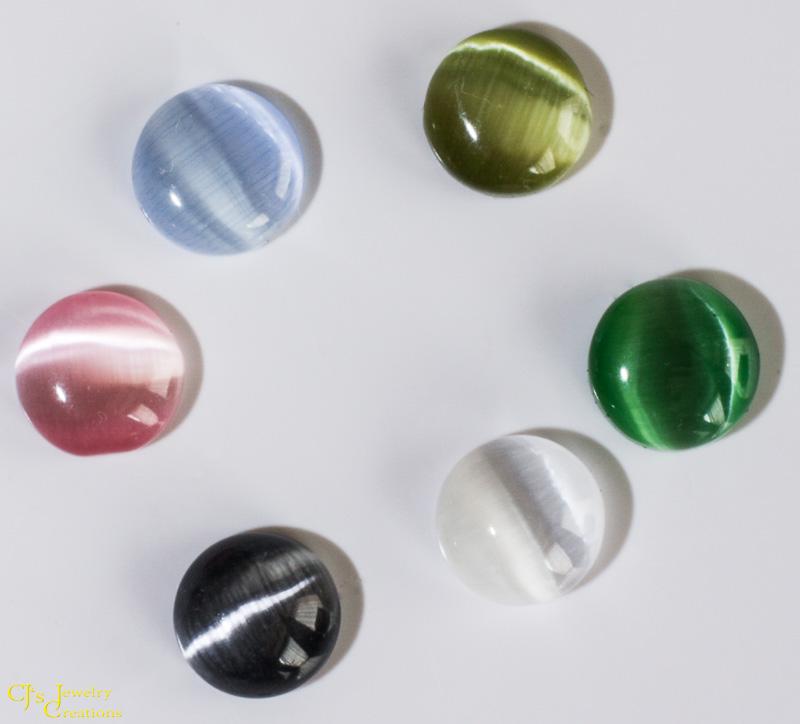 Fiber Optic Cat's Eye Cabochons: Olive Green, Emerald Green, White, Black, Pink, and Light Blue