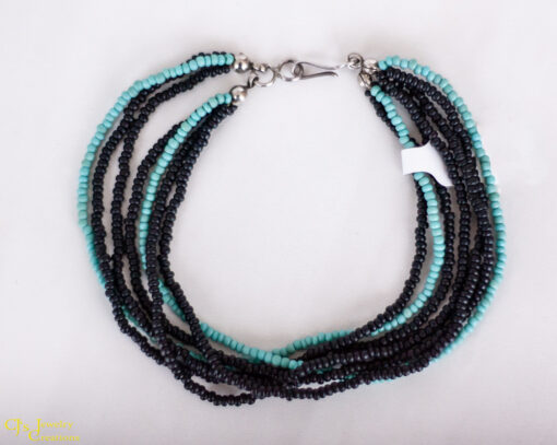 Black/Turquoise Glass Seed Beads