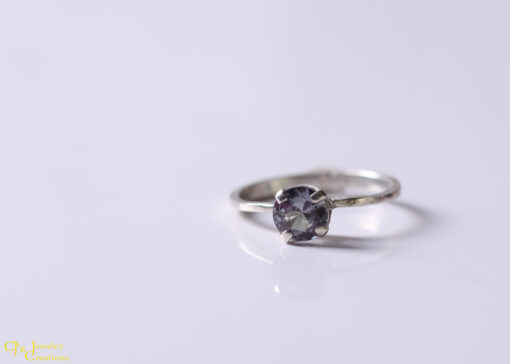 Synthetic Alexandrite and Sterling Silver Ring, size US 6.5